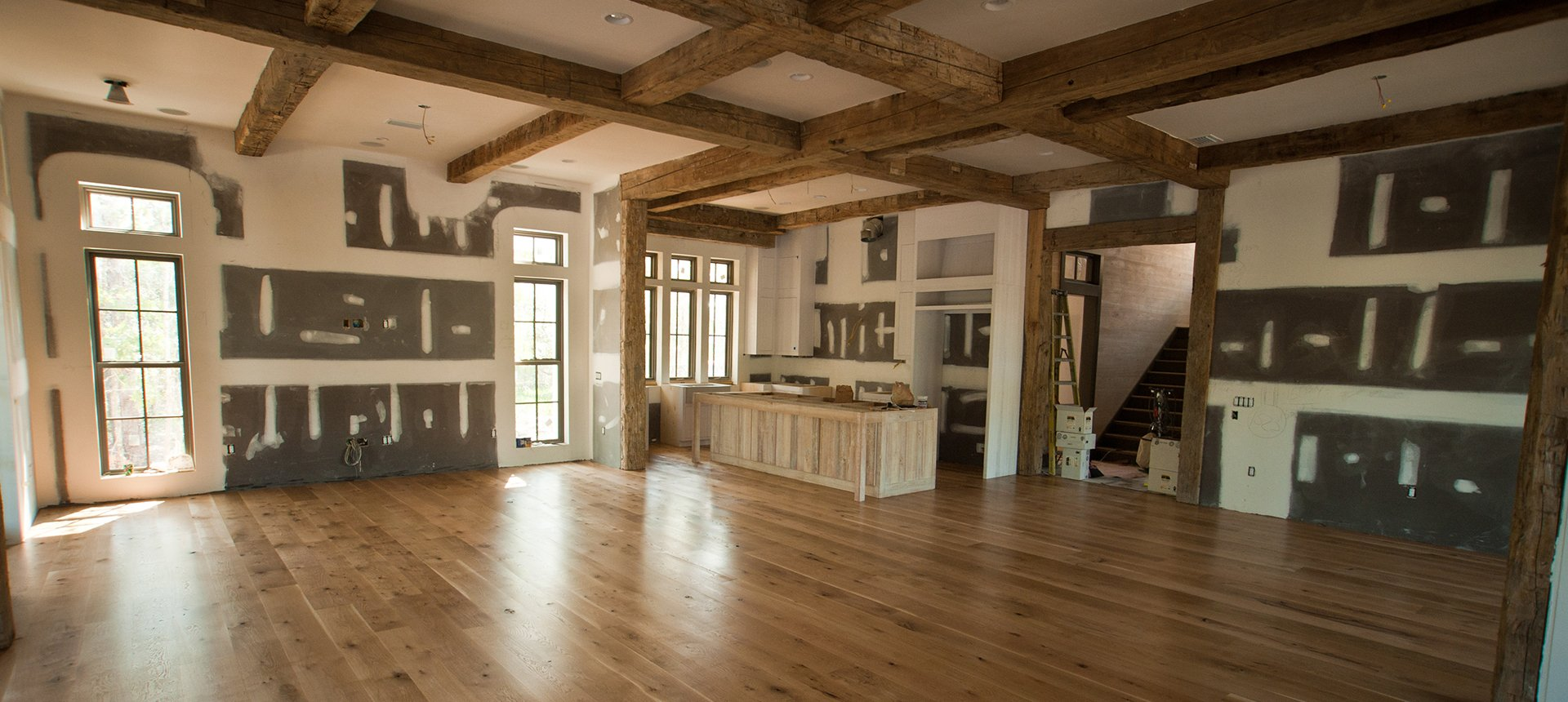 choose from a variety of reclaimed beams and flooring